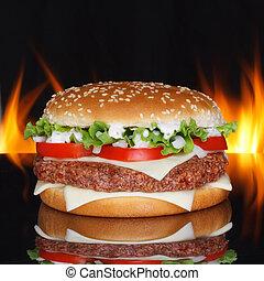 Hamburger on black background