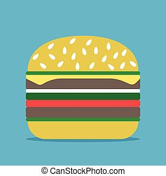 Hamburger on blue background