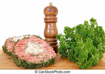 Hamburger on cutting board