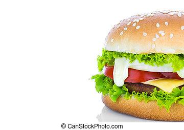 Hamburger on white background