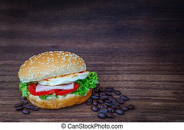 Hamburger on wooden floor