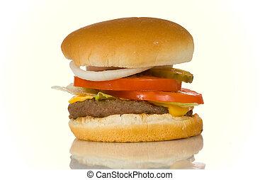 hamburger, op wit