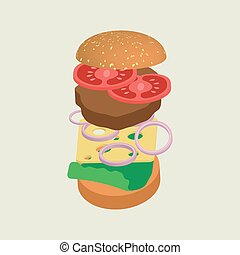 Hamburger or cheeseburger vector illustration