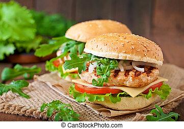 hamburger, panino pollo