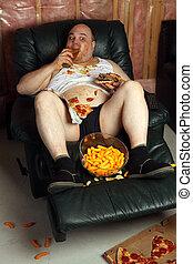 hamburger, paresseux, divan, manger, pomme terre