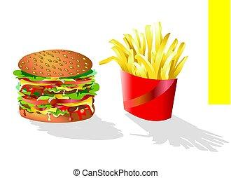 hamburger, patatine fritte
