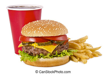 hamburger, patatine fritte, e, cola