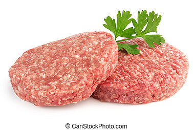 hamburger patties and parsley isolated on white background