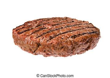 Hamburger patty - A thick, juicy hamburger patty cooked on a...