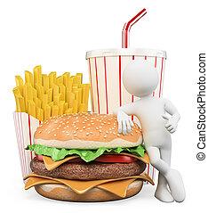 hamburger, persone., bevanda, frigge, digiuno, cibo., bianco, 3d