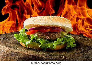 Hamburger - photo of delicious american hamburg on wooden...