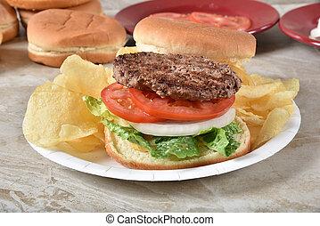 hamburger, picnic, piastra