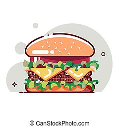 hamburger, plat, kotelet, deeg, kaas, style., tomaat, groot, vector, rundvlees, illustration., salad.