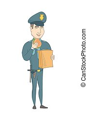 hamburger., police, jeune, officier, manger, caucasien