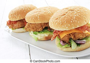 hamburger, pollo