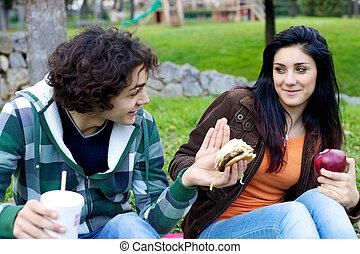 hamburger, pomme, elle, sain, contre, tenter, petite amie, petit ami