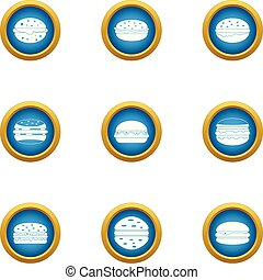 Hamburger porterhouse icons set, flat style - Hamburger ...