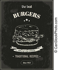 Hamburger poster - Hamburger vintage retro sketch style...