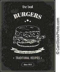 Hamburger poster - Hamburger vintage retro sketch style...