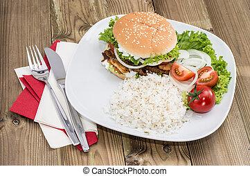 hamburger, riso, kebab