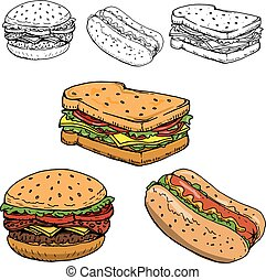 Hamburger, sandwich, hot dog hand drawn illustrations isolated o