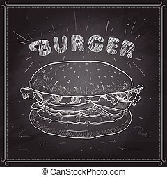 hamburger, scetch, black , plank