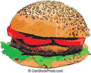hamburger, schizzo, illustrazione