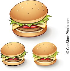 hamburger, schmackhaft, karikatur