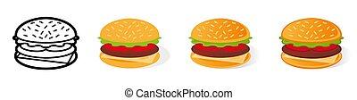 hamburger, set, cartone animato