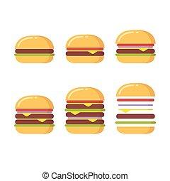 hamburger, set, icone
