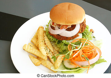 Hamburger Set Meal On Black Table During the Day
