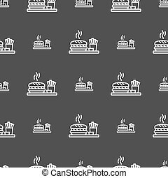 Hamburger sign. Seamless pattern on a gray background. Vector