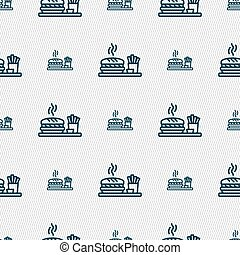 Hamburger sign. Seamless pattern with geometric texture. Vector