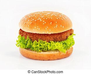 Single hamburger on white