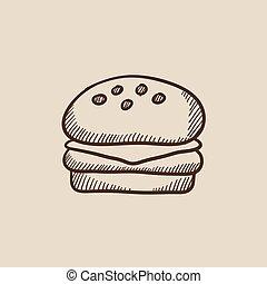 Hamburger sketch icon.