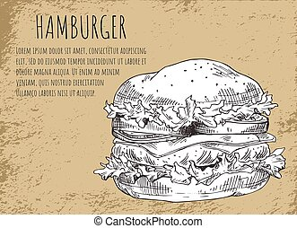 Hamburger Sketch of Poster Vector Illustration