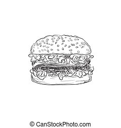 hamburger, sketch style, vector
