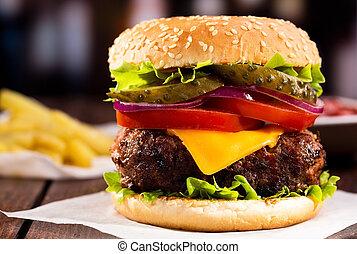hamburger, smaży