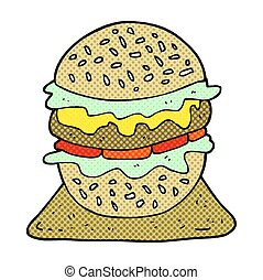 hamburger, smakelijk, spotprent