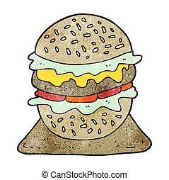 hamburger, smakelijk, spotprent, textured