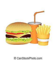 hamburger, soda and fries french food