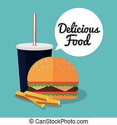 hamburger soda fries and fast food design