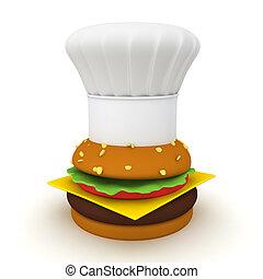 hamburger, sommet, chef cuistot, rendre, chapeau, 3d