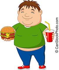hamburger, soude, boisson, excès poids, tenue, garçon
