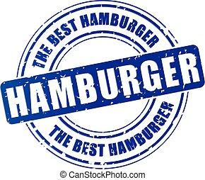 illustration of hamburger blue stamp design icon