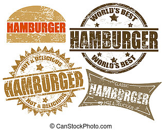 Hamburger stamps - Set of grunge rubber stamps with the word...