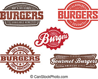 hamburger, stile, francobolli, classico