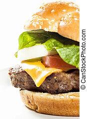 hamburger, stile, ristorante, piastra