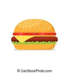 hamburger, styl, płaski
