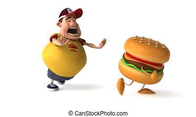 hamburger, tłuszcz, koźlę